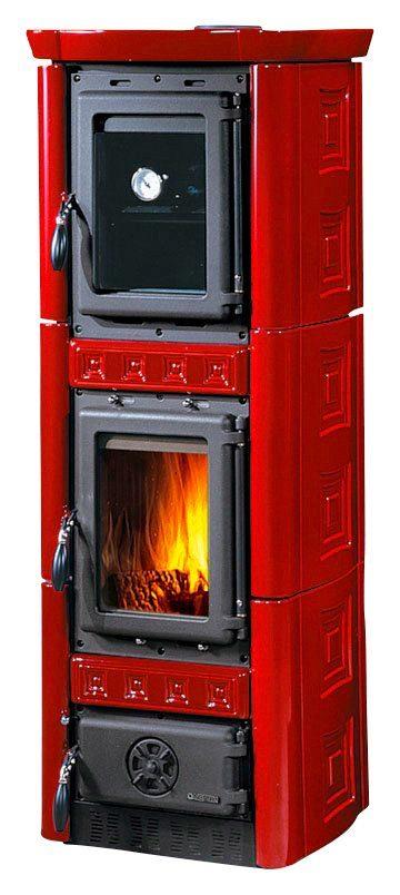 Kaminofen »Gaia Forno«, Kachel rot, 6 kW, Backofen mit Temperaturanzeige, Gussfeueraum
