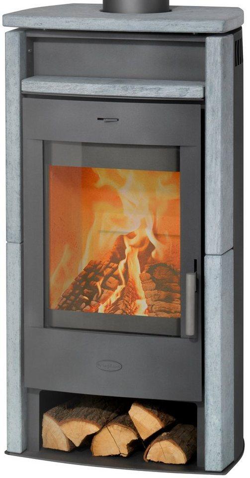 Kaminofen »Paris«, Naturstein, 6 kW, Panoramasichtscheibe, Fireplace in grau