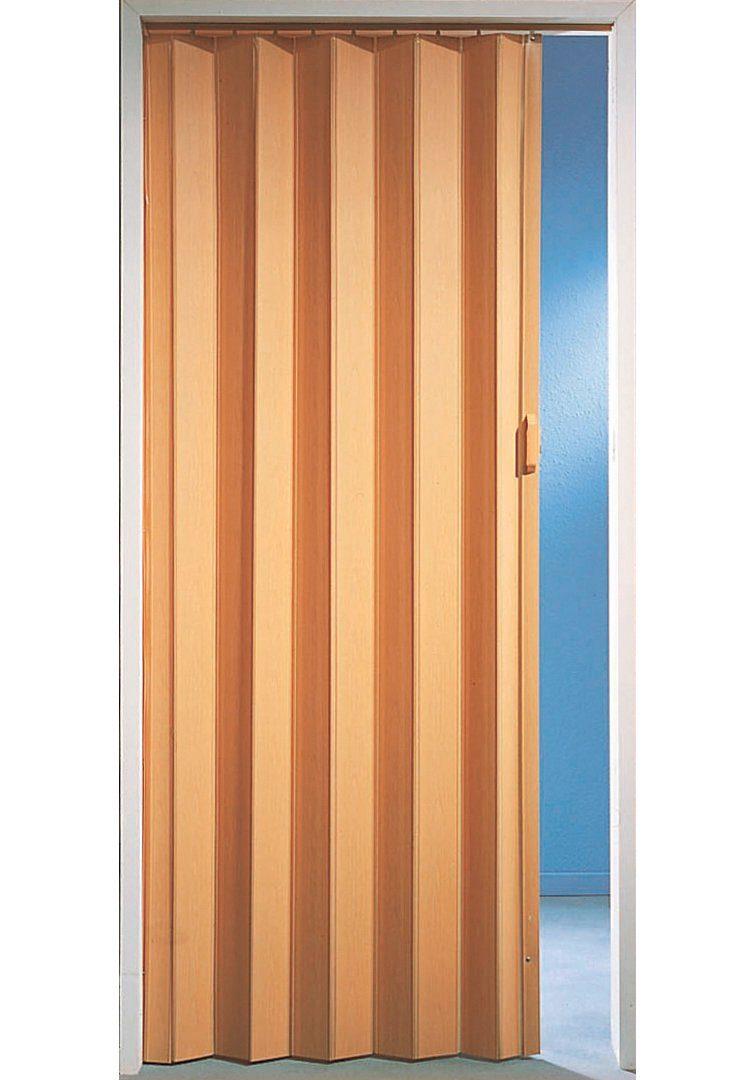Kunststoff-Falttür, Breite bis 90 cm, buchefarben