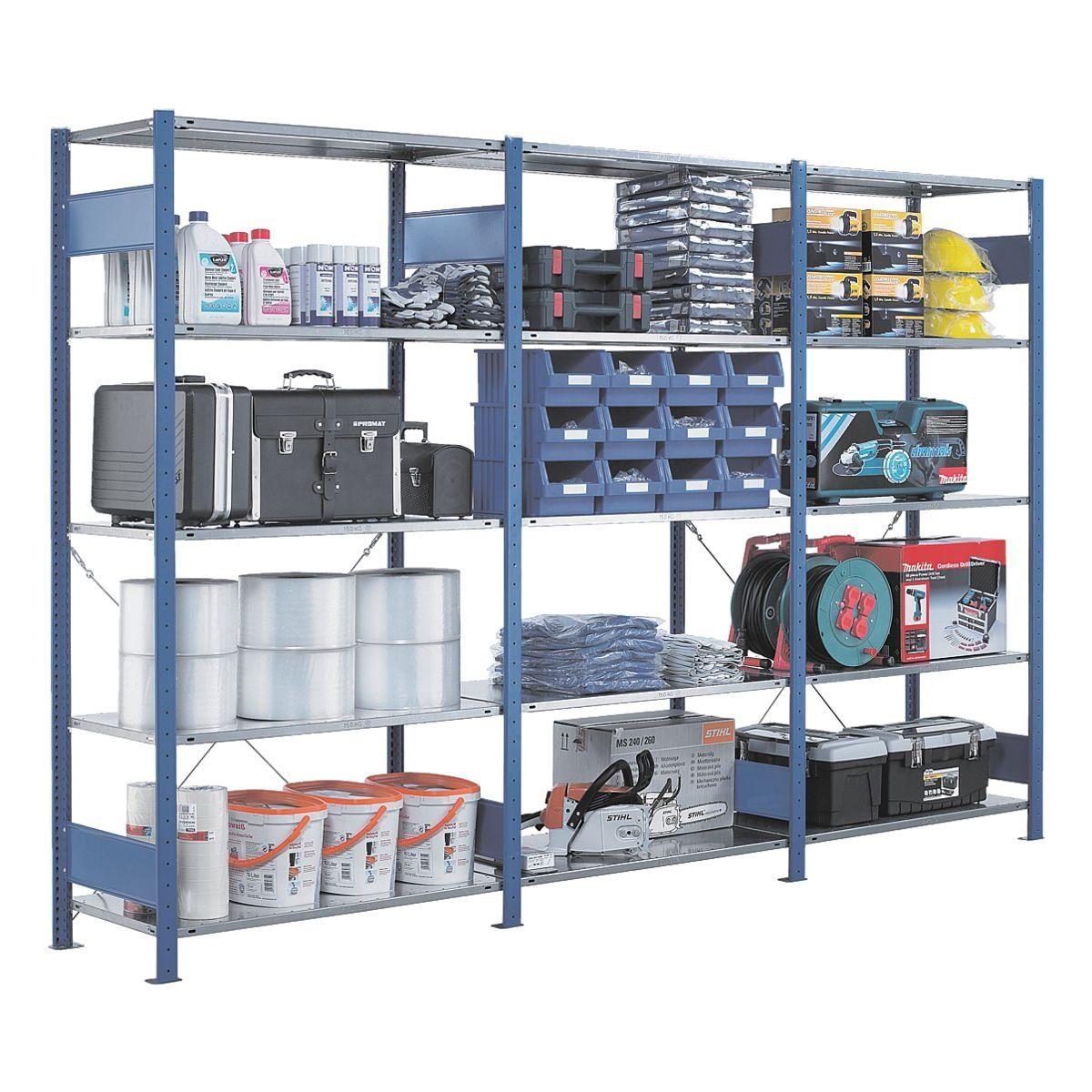 SCHULTE Lagertechnik Steckregal - Anbauregal, 100 x 80 x 250 cm, verzinkt/blau