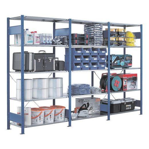 SCHULTE Lagertechnik Steckregal - Anbauregal, 100 x 50 x 250 cm, verzinkt/blau