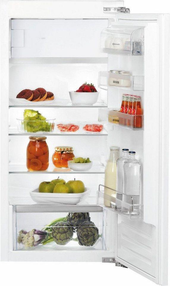 Bauknecht Einbau-Kühlschrank mit Gefrierfach KVIE 2128 A++, Energieklasse A++, 122 cm hoch in weiß