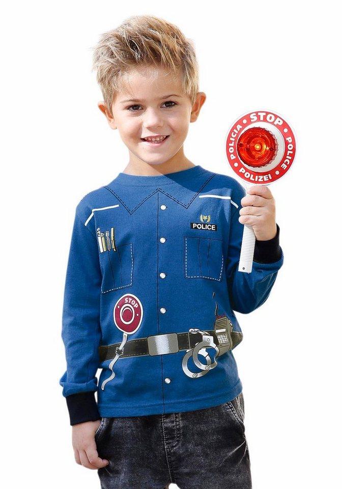 """KIDSWORLD Langarmshirt """"Polizei"""" in royalblau"""