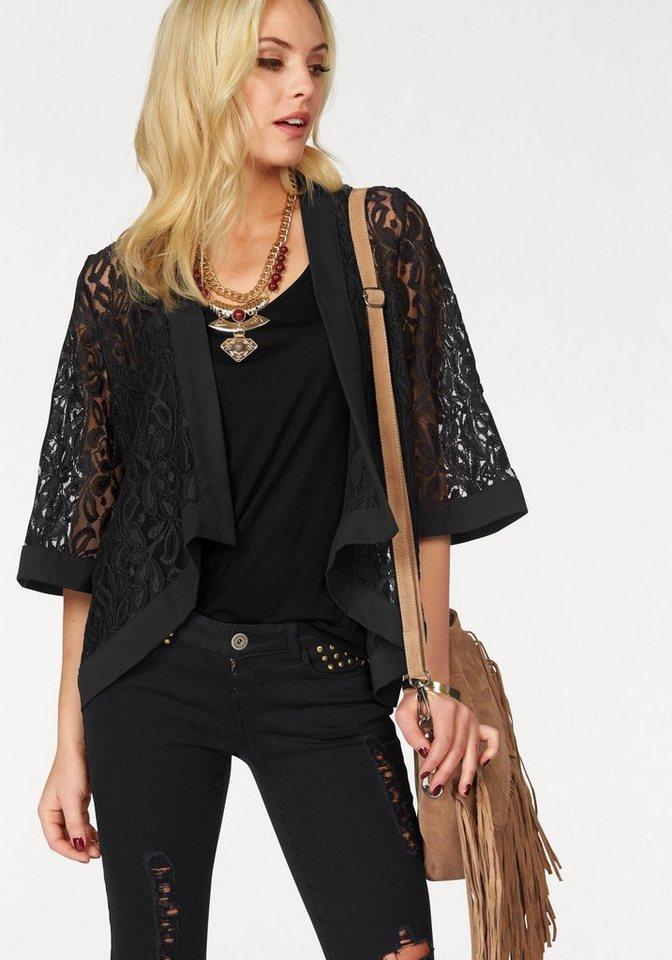 Melrose Kimono aus Spitze in schwarz