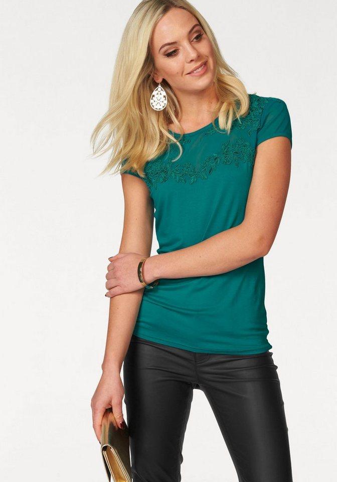 Melrose Rundhalsshirt mit Spitzenapplikation in smaragd