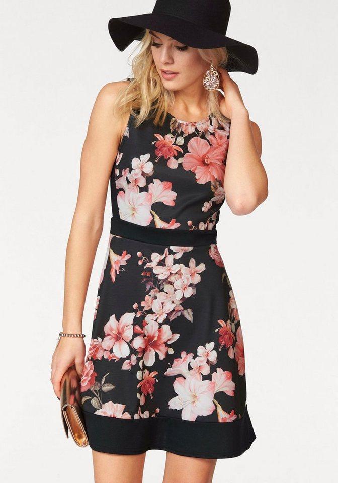 Melrose Jerseykleid mit Flower-Print in schwarz-rosa