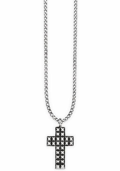 CAÏ Kreuzkette »Kreuz, royal punk, C4222N/90/00/55« in Silber 925-schwarz