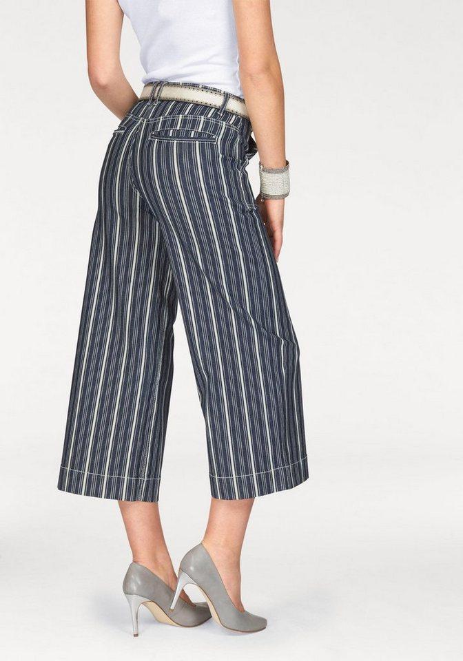 Arizona Weite Jeans »Culotte« im Striped-Jeans-Look in blau-wollweiß