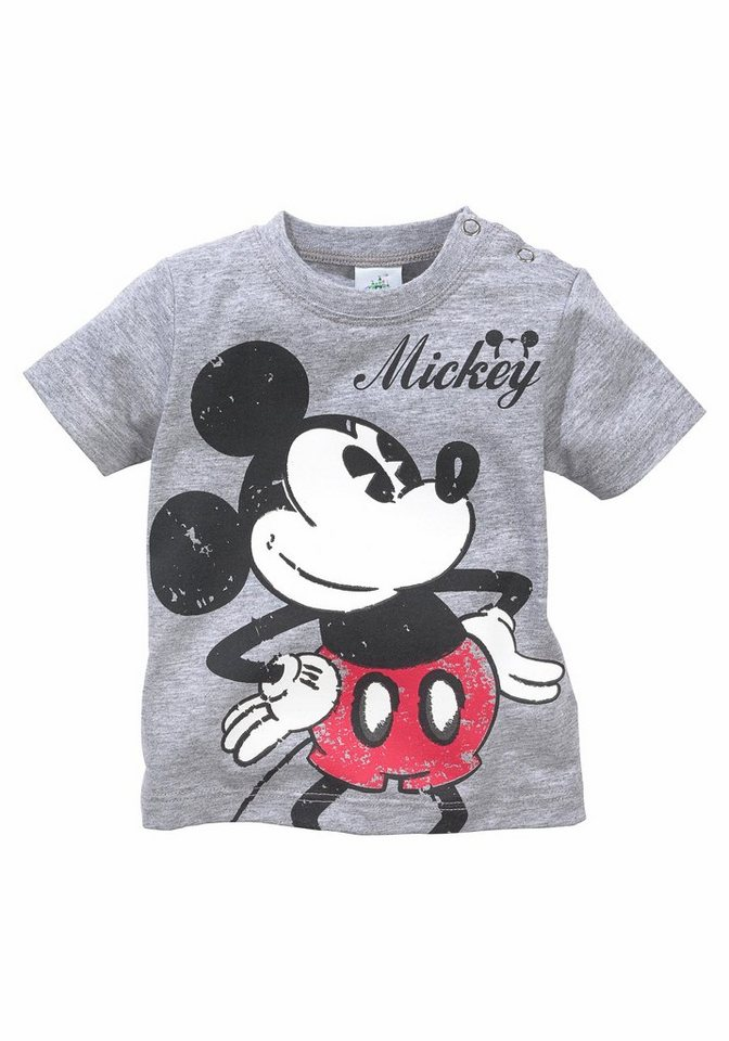 Disney T-Shirt mit Mickey Mouse Motiv in grau-meliert-bedruckt