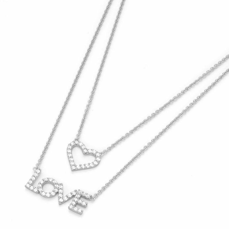 GIORGIO MARTELLO MILANO Silberkette »Love, Herz, 195126093440« mit Zirkonia in Silber 925