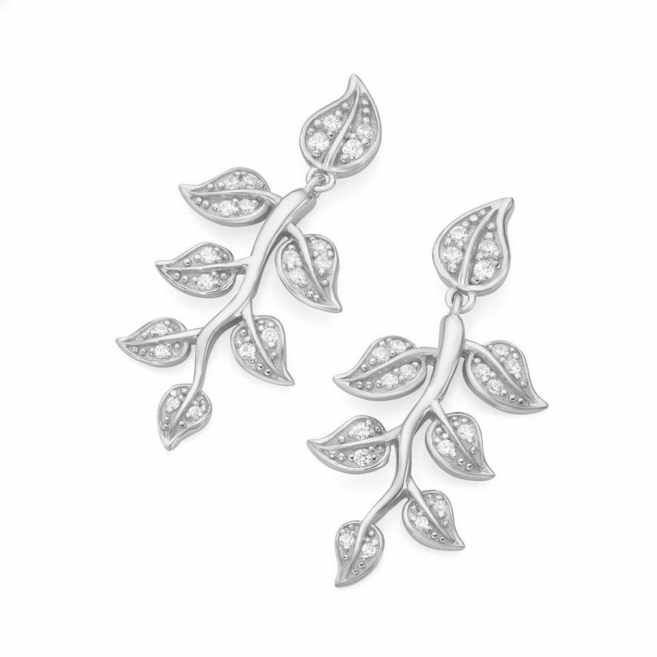 GIORGIO MARTELLO MILANO Paar Ohrstecker »Zweig mit Blättern, 195141093« mit Zirkonia in Silber 925