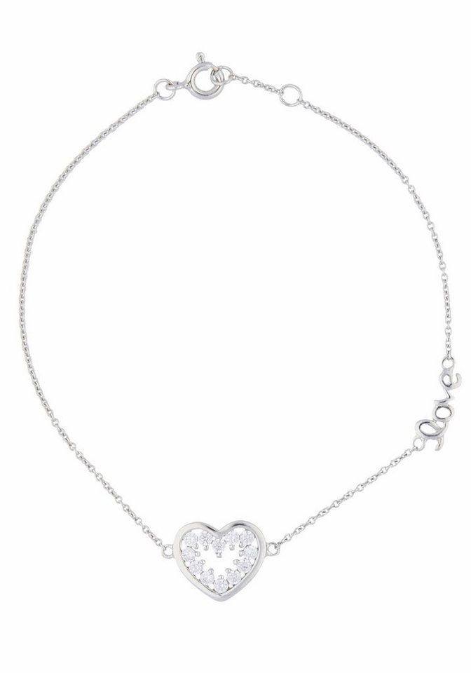 Firetti Silberarmband »Herz« mit Zirkonia in Silber 925