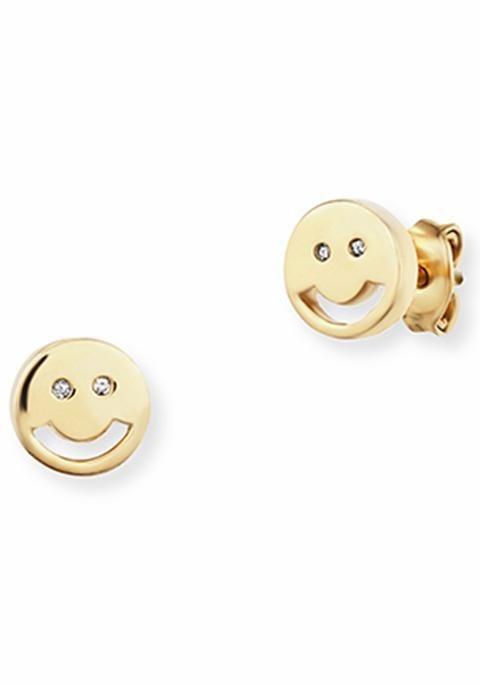 CAÏ Paar Ohrstecker »Smileys, C7275E/90/03« mit Zirkonia in Silber 925-goldfarben