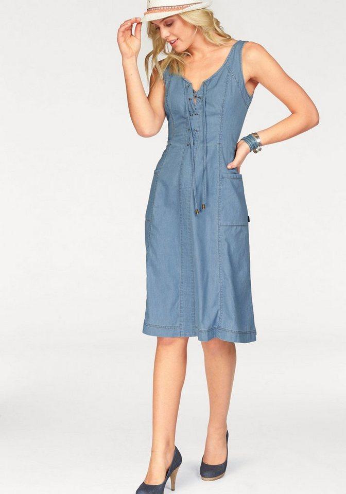 Arizona Jeanskleid mit Schnürung am Ausschnitt in blue-stone