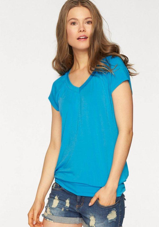 LASCANA Viskose-Shirt mit breitem Bund in türkis