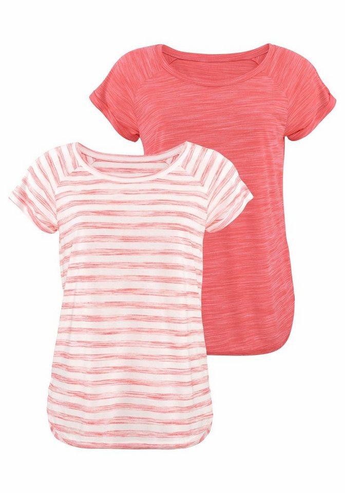 Beachtime T-Shirts (2 Stück) in apricot gestreift + meliert