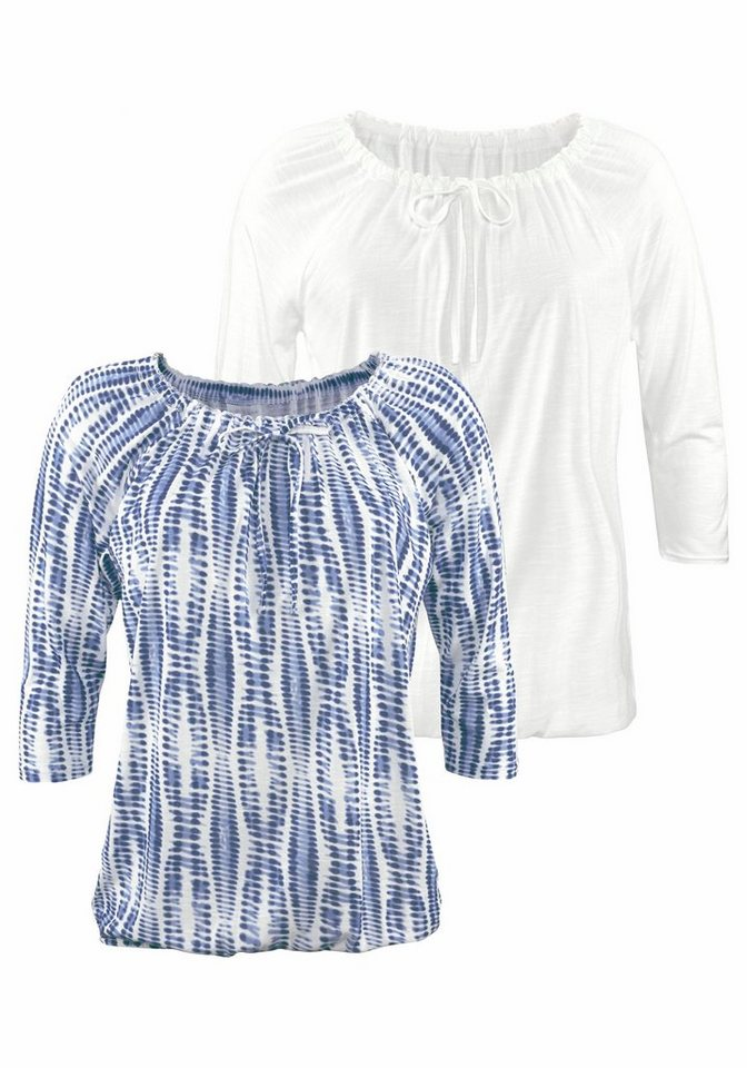 LASCANA Shirts (2 Stück) in marine bedruckt + uni creme