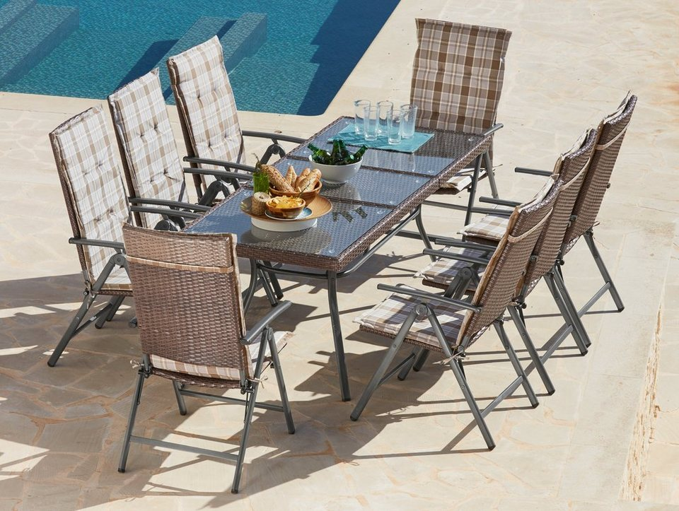 gartenm belset pavia 17 tlg 8 hochlehner tisch 150 200 cm polyrattan braun online kaufen. Black Bedroom Furniture Sets. Home Design Ideas