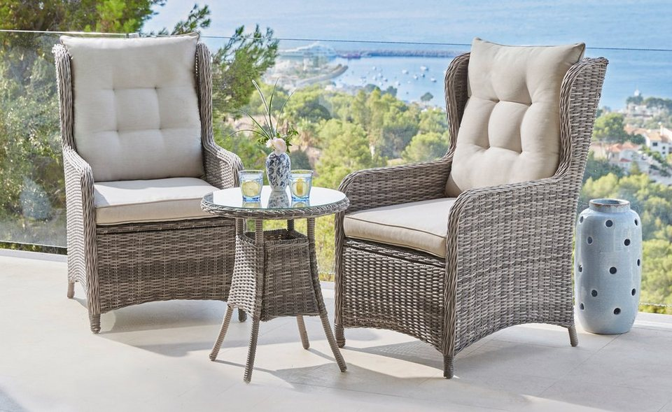 gartenm belset cannes 2 ohrensessel tisch 50 cm polyrattan grau online kaufen otto. Black Bedroom Furniture Sets. Home Design Ideas