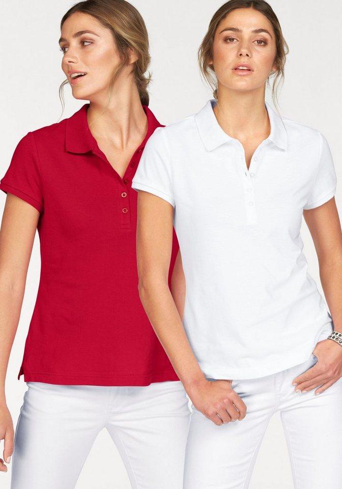 Flashlights Poloshirt mit modischem Rippkragen (Packung, 2er-Pack) in rot+weiß
