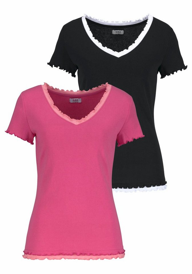 Flashlights V-Shirt Shirt in Doppellagenoptik (Packung, 2er-Pack) in schwarz+pink