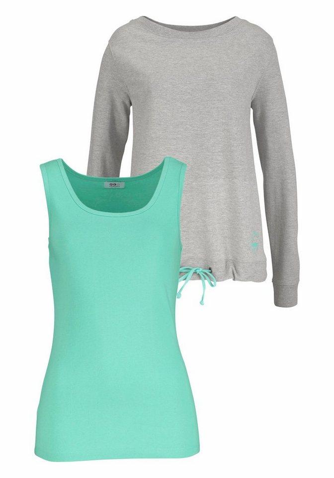Flashlights Longsweatshirt sportives 2-in-1-Sweatshirt (Set, 2 tlg., mit Top) in grau-meliert+mint