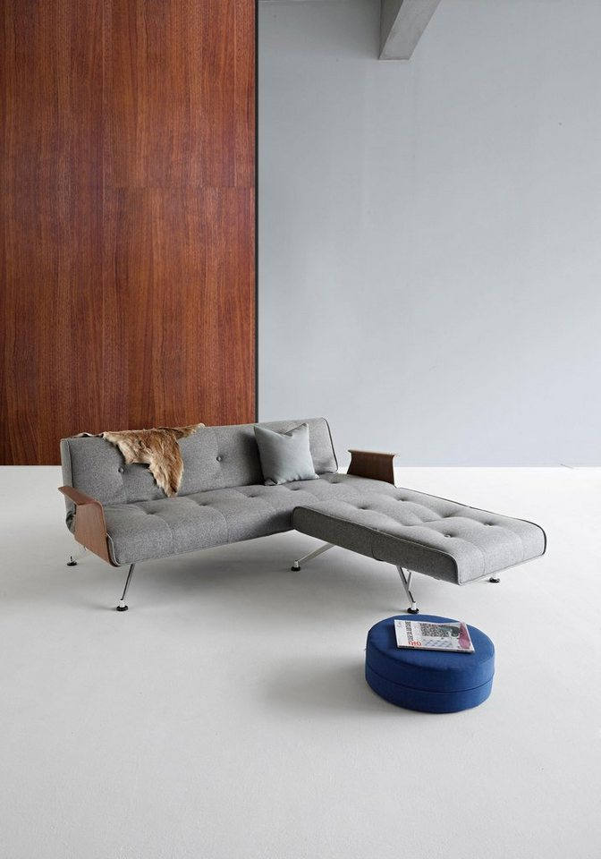 INNOVATION™ Schlafsofa »Clubber«, mit modernen Armlehnen in Walnuß in charcoal grey