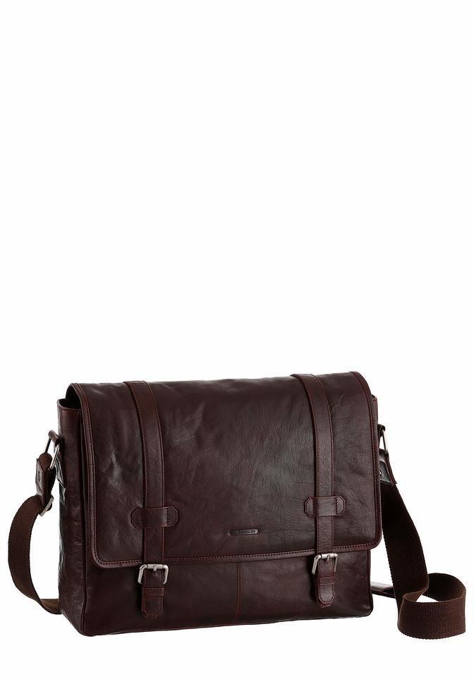 PETROLIO Messenger Bag aus echtem Leder in braun