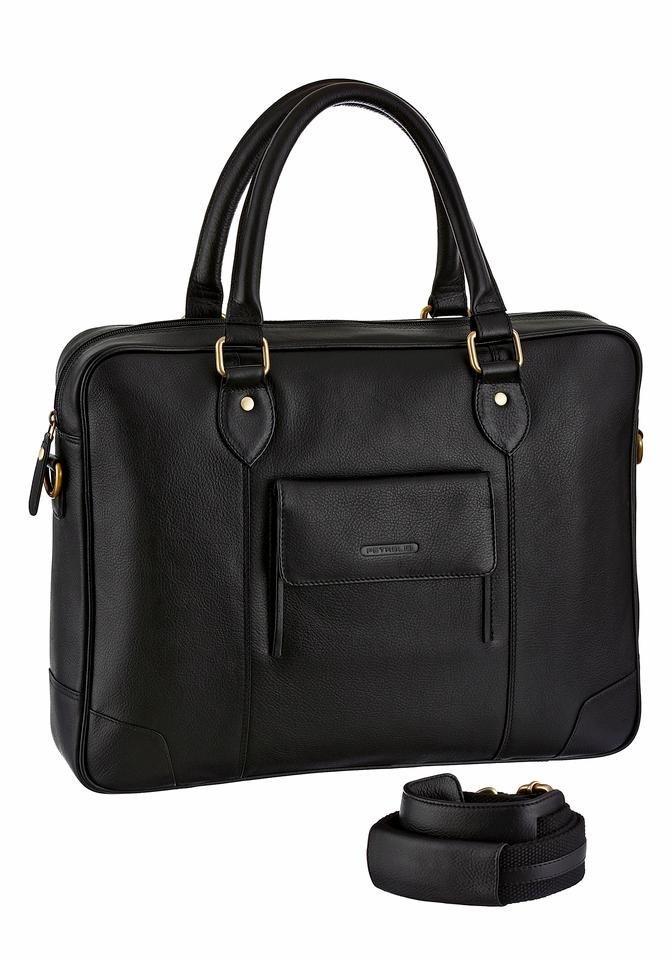PETROLIO Aktentasche aus hochwertigem Leder mit Logoprägung auf der Front in schwarz