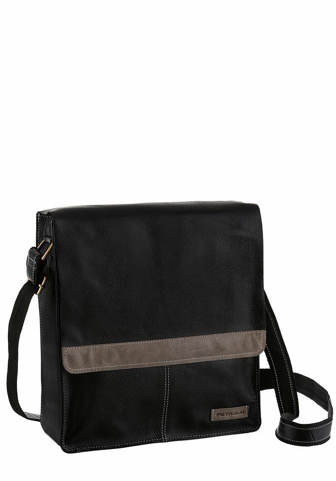 PETROLIO Umhängetasche aus hochwertigem Leder mit modischen Ziernähten in schwarz-grau