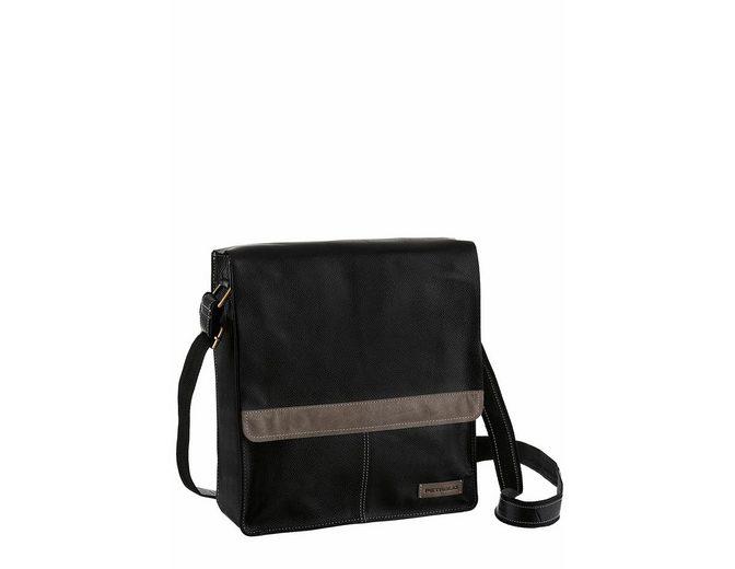 PETROLIO Umhängetasche, aus hochwertigem Leder, Crossbody Bag mit modischen Ziernähten