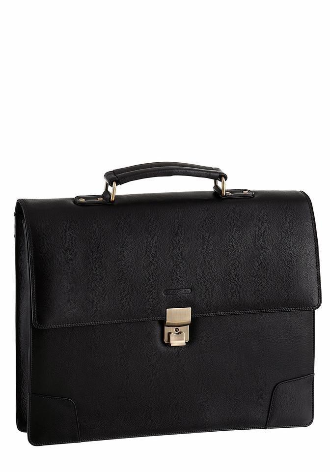 PETROLIO Aktentasche aus hochwertigem Leder in schwarz