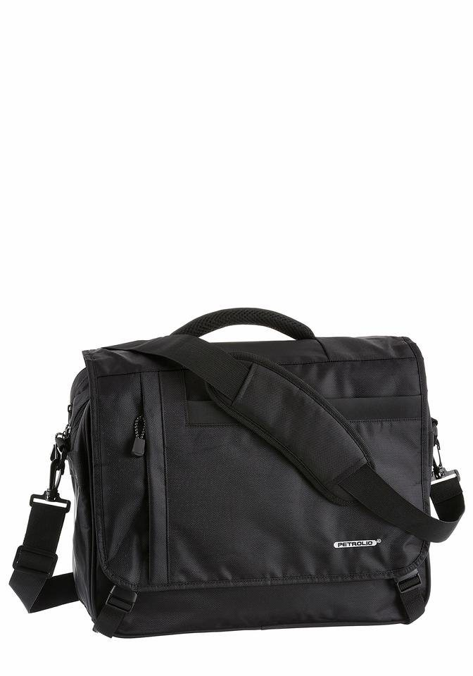 PETROLIO Messenger Bag mit Trolleyaufsatz in schwarz