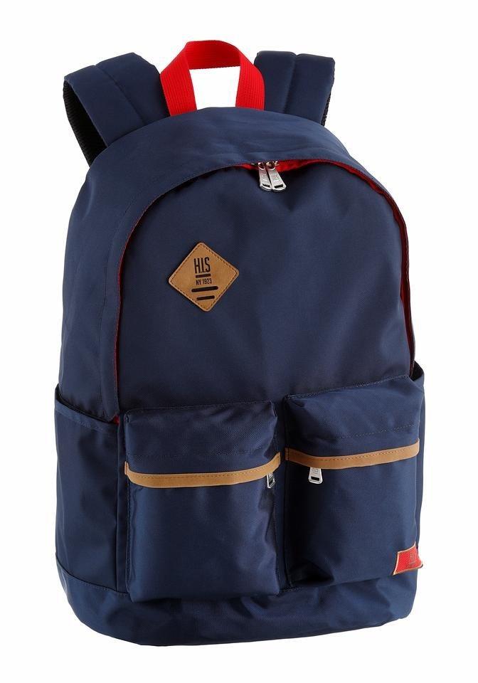 H.I.S Sportrucksack mit praktischen Vortaschen in blau-rot-cognac