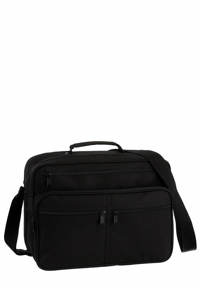 PETROLIO Messenger Bag mit vielen praktischen Fächern in schwarz