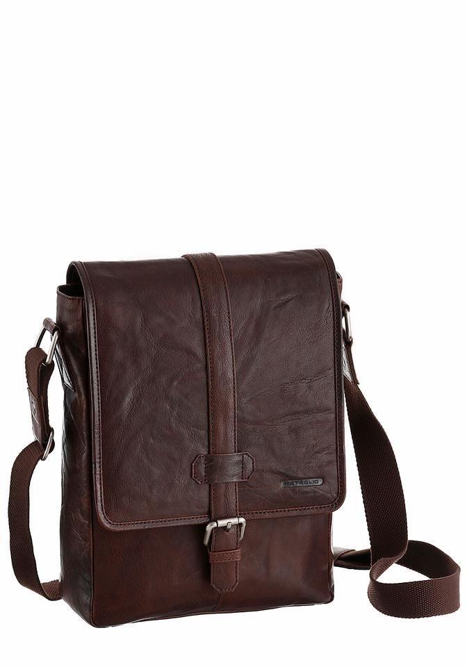 PETROLIO Umhängetasche aus hochwertigem Leder mit schöner Zierschnalle in braun