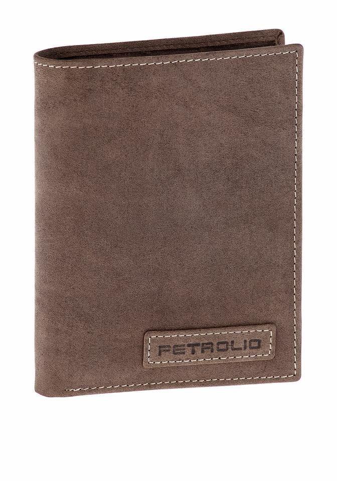 PETROLIO Geldbörse, aus Leder mit schönen Ziernähten