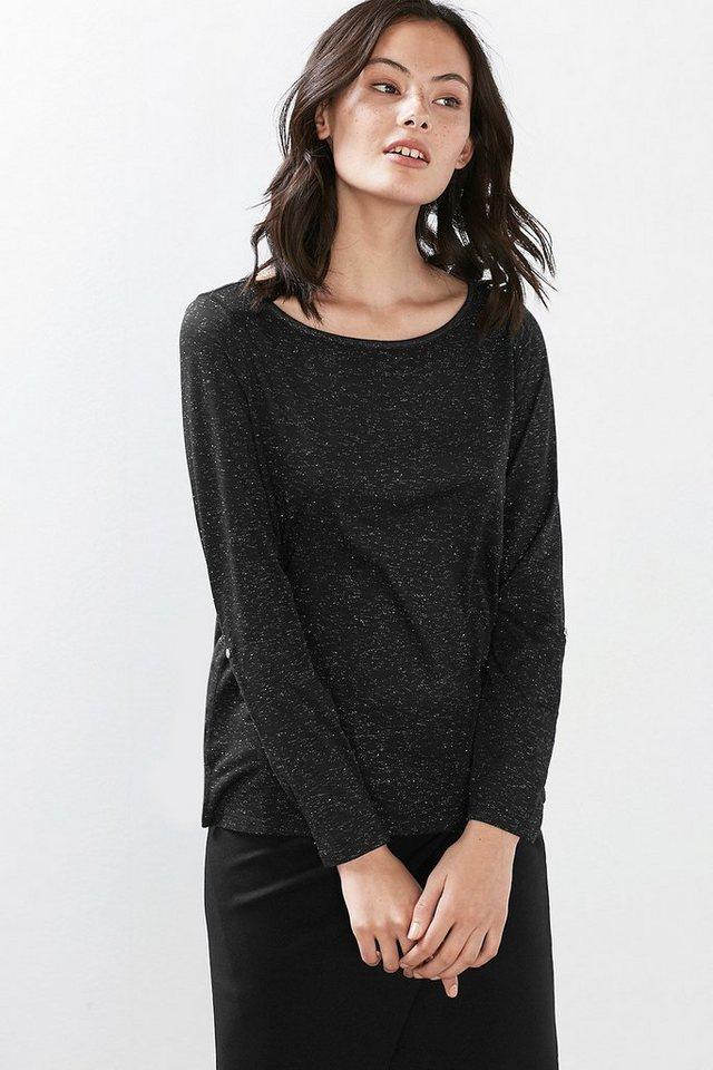 esprit casual leichtes lurex shirt mit turn up rmeln online kaufen otto. Black Bedroom Furniture Sets. Home Design Ideas