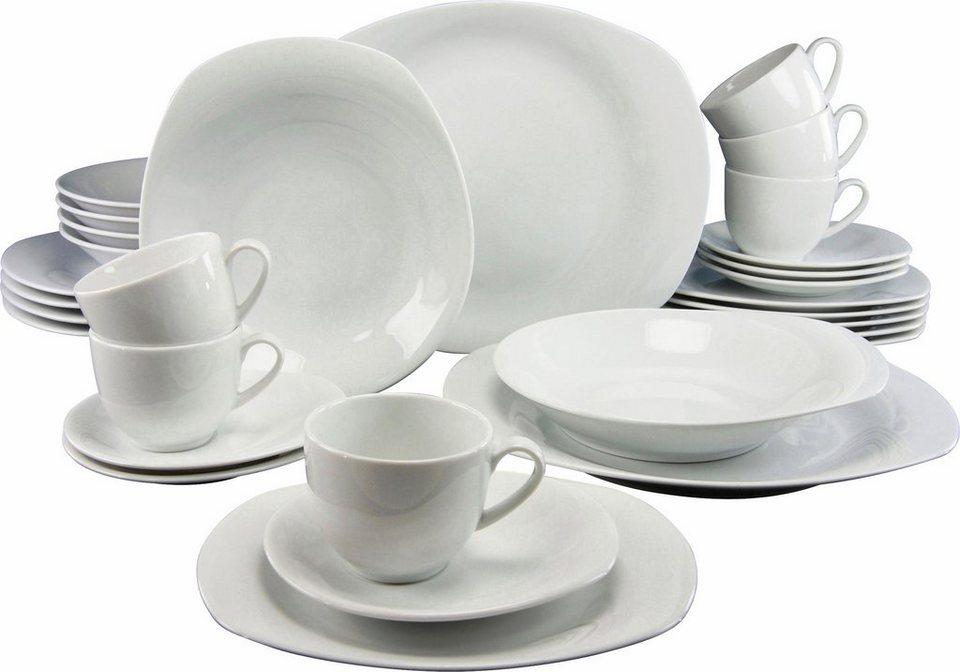 CreaTable Kombiservice, Porzellan, »Finesse« (30tlg.) in weiß