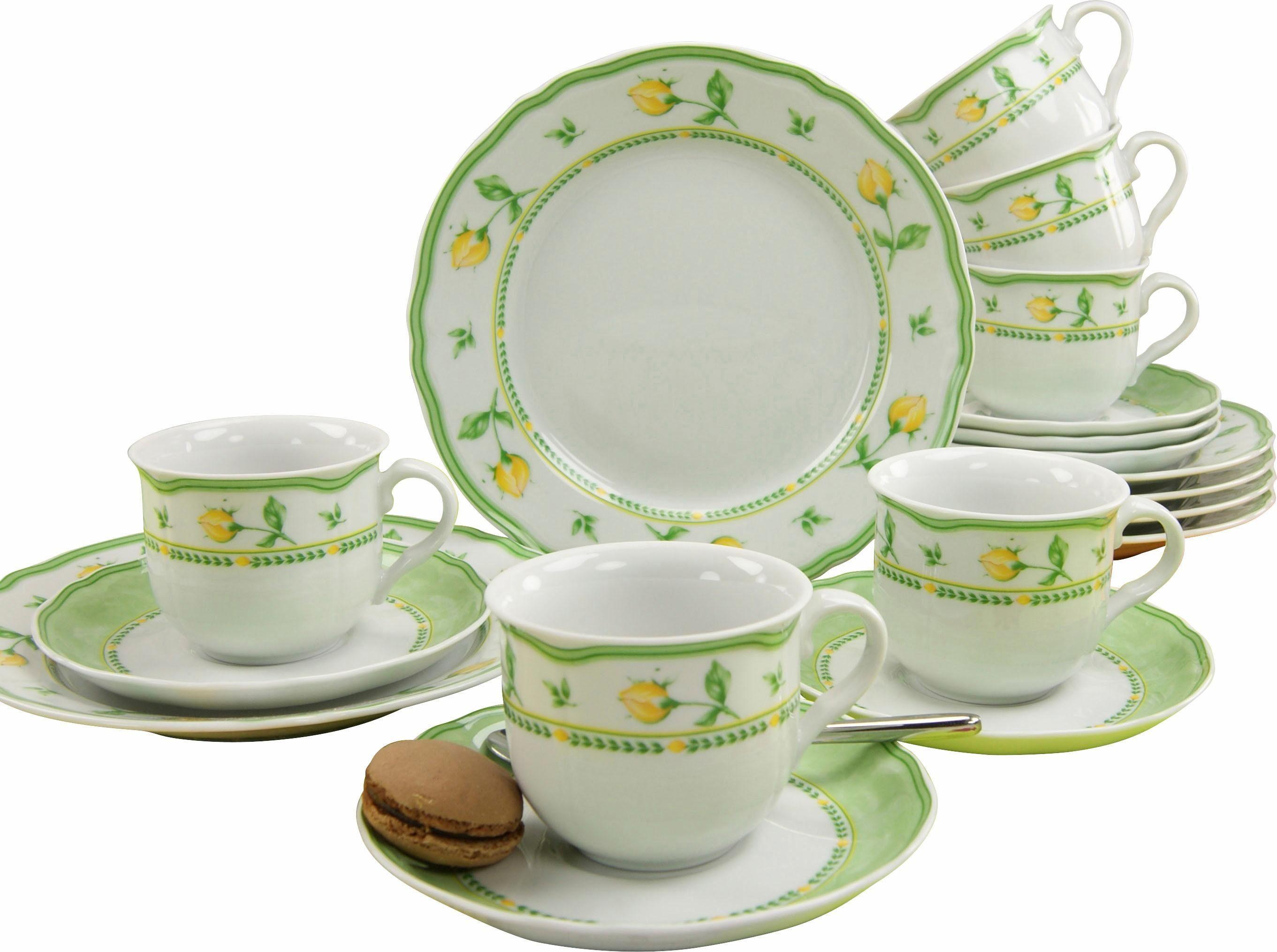 CreaTable Kaffeeservice Porzellan, 18 Teile, »Spring Rose«