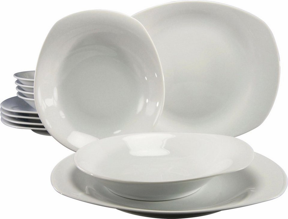 CreaTable Tafelservice, Porzellan, »Finesse« (12tlg.) in weiß