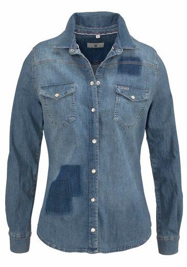 H.I.S Jeansbluse Patch, Angedeutete Patches vorne an den Ärmeln und hinten