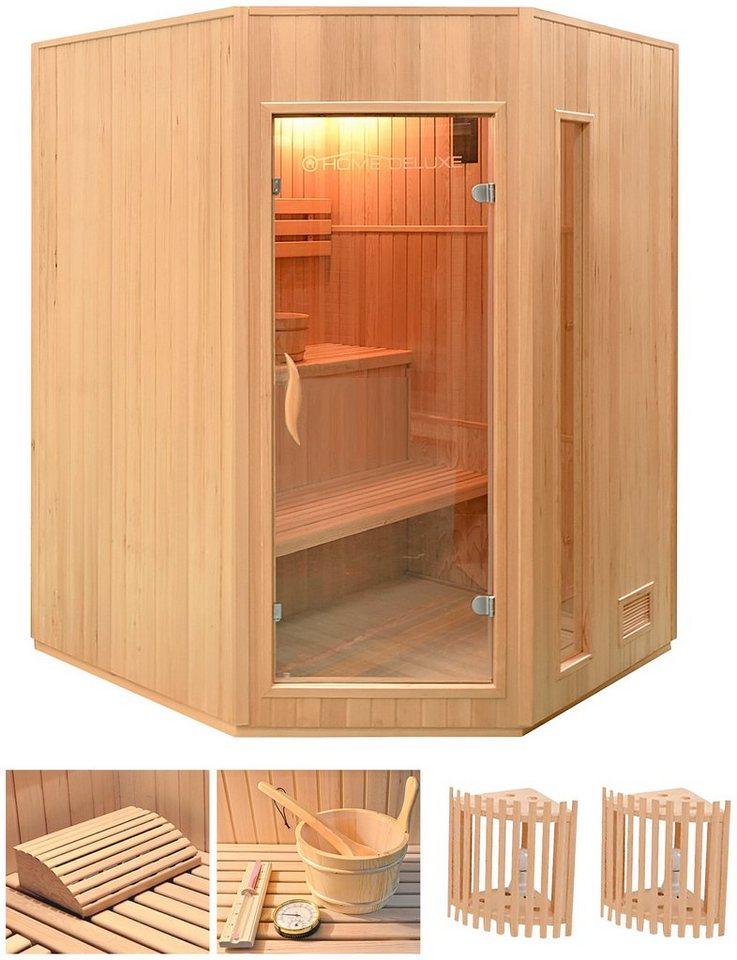 Home Deluxe Set: Elementsauna »Relax XL«, 150/150/200 cm, 50 mm, 4,5-KW-Ofen, int. Strg. in natur