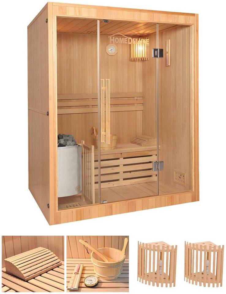 Home Deluxe Set: Elementsauna »Skyline L«, 150/120/190 cm, 50 mm, 3,5-KW-Ofen, int. Strg. in natur