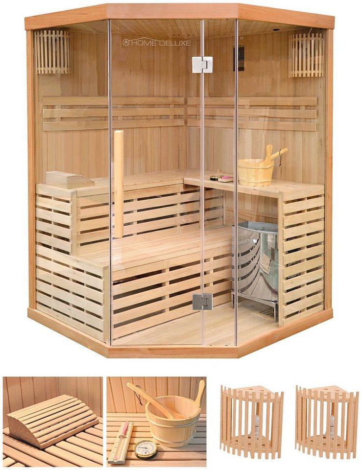 home deluxe set sauna skyline xl 150x150x200 cm 50 mm 6 kw ofen mit int steuerung online. Black Bedroom Furniture Sets. Home Design Ideas