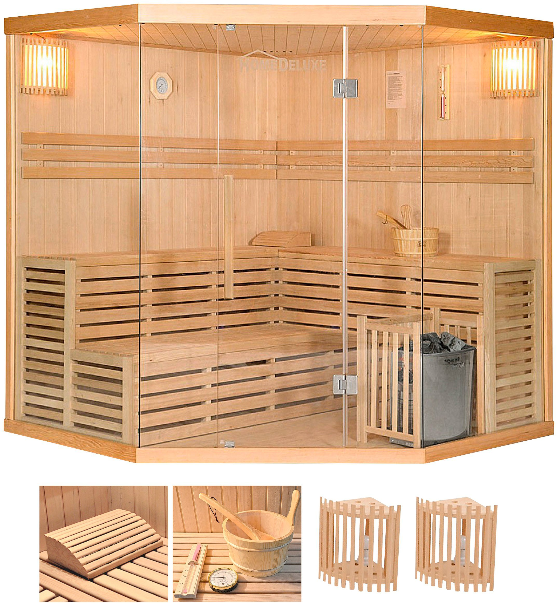 Home Deluxe Set: Elementsauna »Skyline XL BIG«, 200/200/210 cm, 50 mm, 8-KW-Ofen, int. Strg.