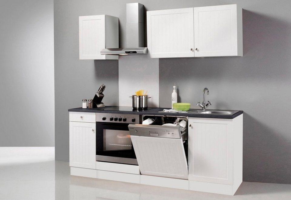 Küchenzeile mit E-Geräten »Bornholm«, Breite 210 cm in weiß/anthrazit