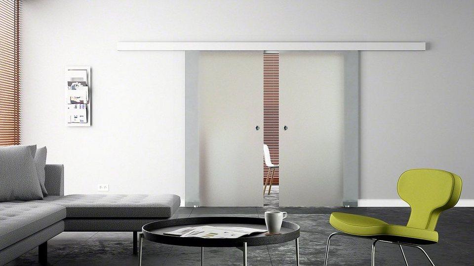 Doppel-Glasschiebetür »Levidor Eco Satiniert« mit Muschelgriff in weiß