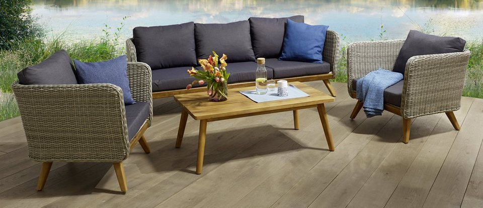 loungeset stockholm 14 tlg 3er sofa 2 sessel tisch polyrattan alu holz online kaufen otto. Black Bedroom Furniture Sets. Home Design Ideas