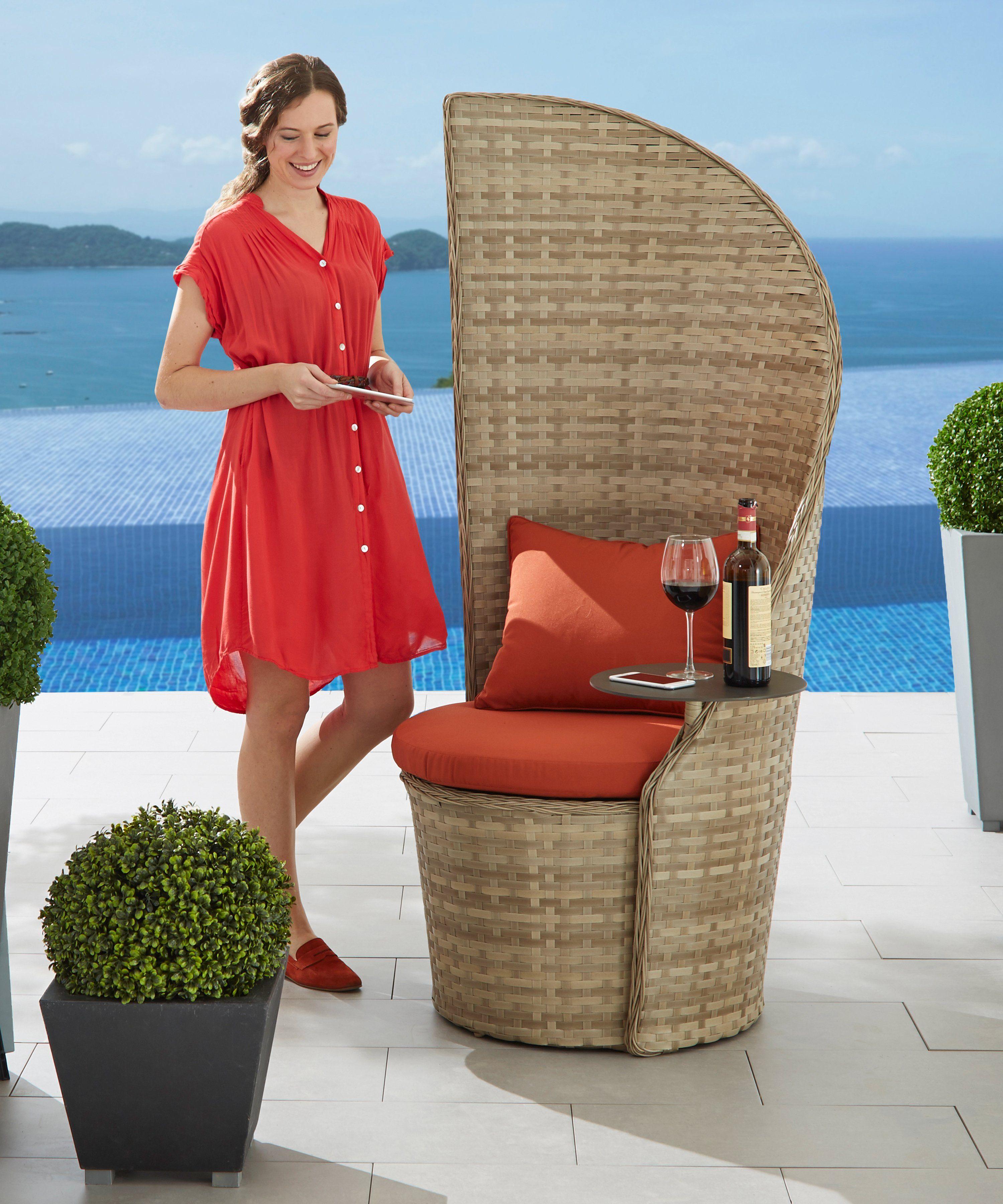 LECO Gartenstuhl »Business«, Sessel mit schwenkbarem Tisch, Polyrattan, inkl. Sitzkissen